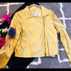Girl gold metallic jacket XL faux leather